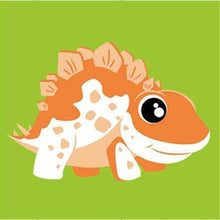 DIY Paint by Number kit for Adults on Canvas-Orange Stegosaurus Dinosaur - [Tiny Print]-20x20cm (8x8inches)
