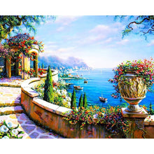 DIY Paint by Number kit for Adults on Canvas-Palace Seascape Over the Ocean-40x50cm (16x20inches)