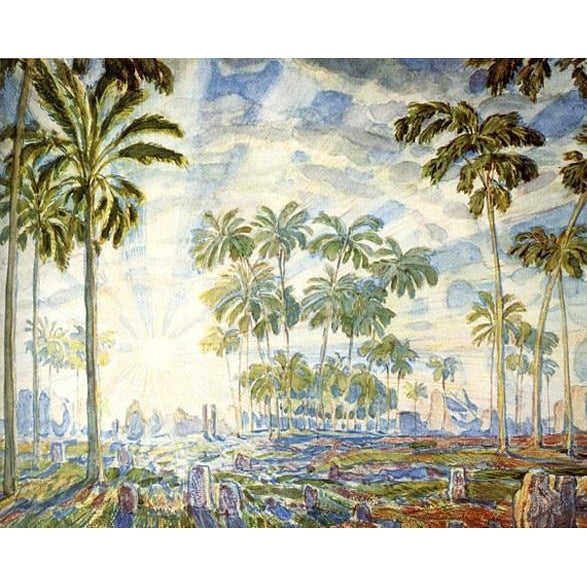 DIY Paint by Number kit for Adults on Canvas-Palm Trees - Konstantin Bogaevsky - 1908-