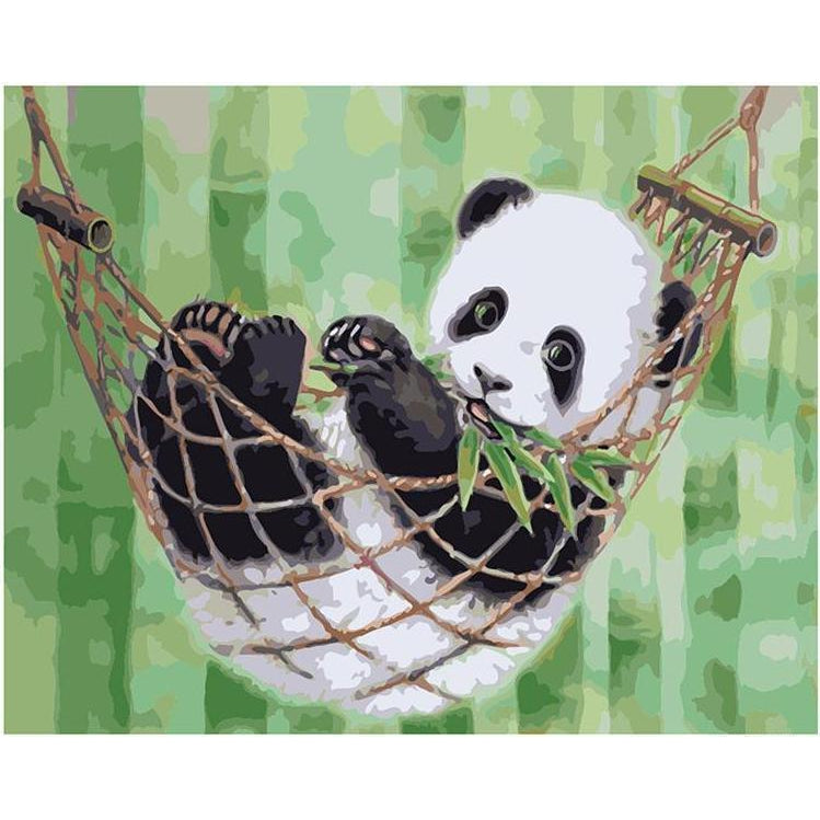 DIY Paint by Number kit for Adults on Canvas-Panda Hammock-40x50cm (16x20inches)