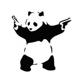 DIY Paint by Number kit for Adults on Canvas-Panda with Guns-Home