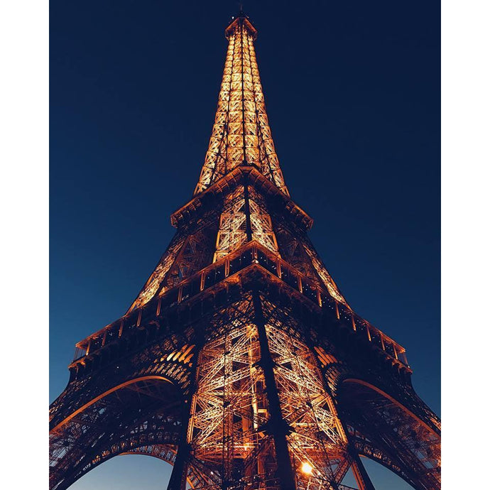 DIY Paint by Number kit for Adults on Canvas-Paris Eiffel Tower at Dusk-Clean PBN