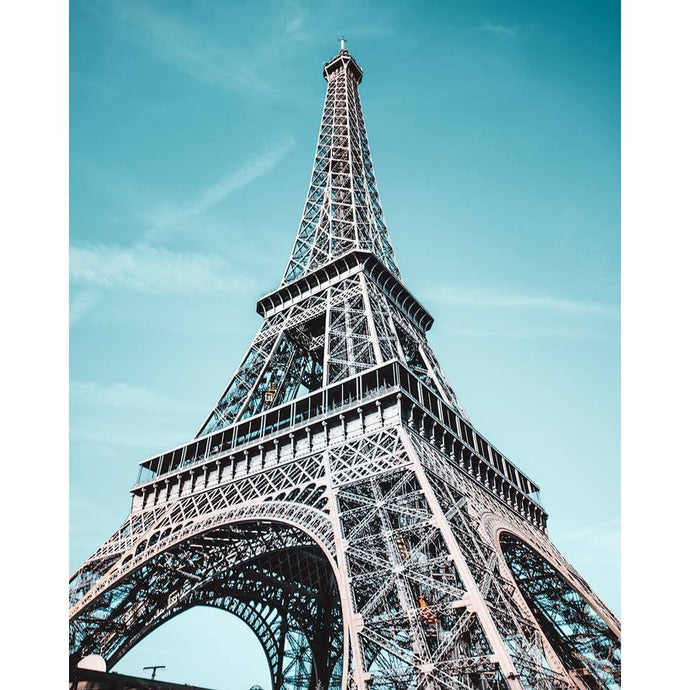 DIY Paint by Number kit for Adults on Canvas-Paris Eiffel Tower at Noon-Clean PBN
