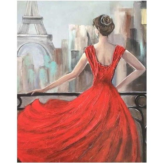 DIY Paint by Number kit for Adults on Canvas-Paris in Red-Painting & Calligraphy