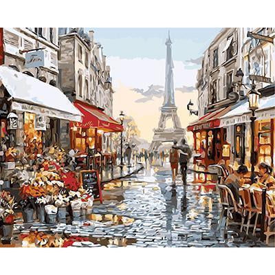 DIY Paint by Number kit for Adults on Canvas-Paris Street After Fresh Rain [LIMITED PRINT]-40x50cm (16x20inches)