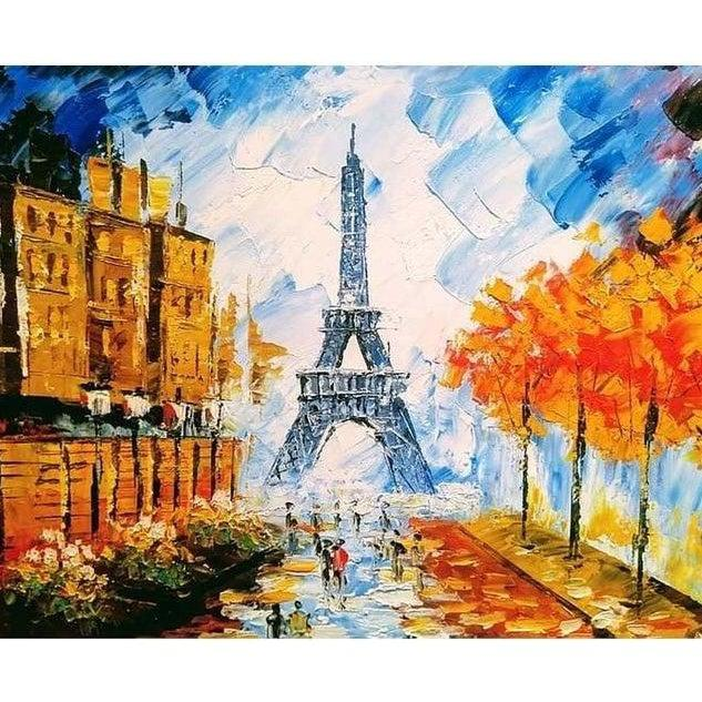 DIY Paint by Number kit for Adults on Canvas-Paris Street-Painting & Calligraphy