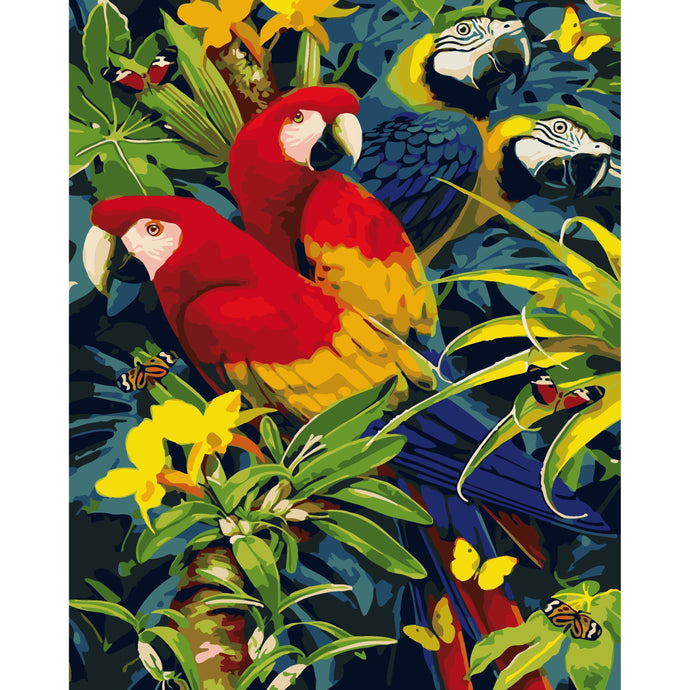 DIY Paint by Number kit for Adults on Canvas-Parrot Pastiche-40x50cm (16x20inches)