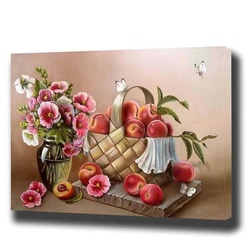 DIY Paint by Number kit for Adults on Canvas-Passion and Peaches-40x50cm (16x20inches)