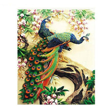 DIY Paint by Number kit for Adults on Canvas-Peacock Friends-40x50cm (16x20inches)