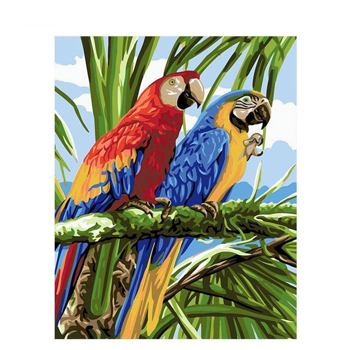 DIY Paint by Number kit for Adults on Canvas-Peninsula of Parrots-40x50cm (16x20inches)