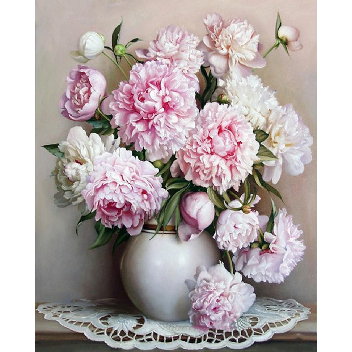 DIY Paint by Number kit for Adults on Canvas-Pink and White Floral Arrangement-40x50cm (16x20inches)