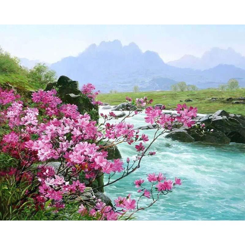 DIY Paint by Number kit for Adults on Canvas-Pink Flowers By Stream-40x50cm (16x20inches)