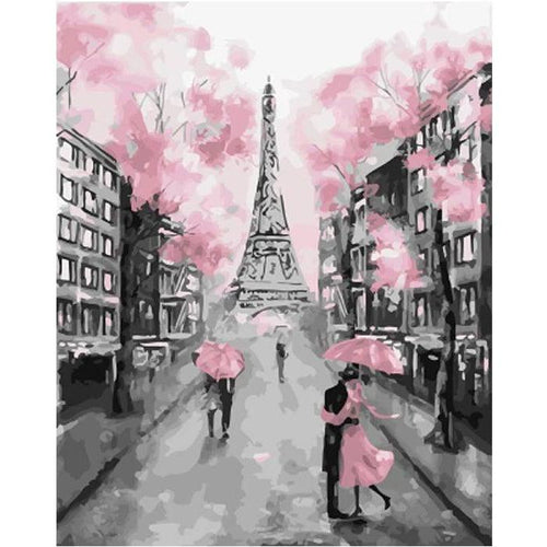 DIY Paint by Number kit for Adults on Canvas-Pink in Paris-Painting & Calligraphy