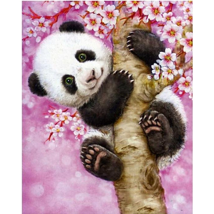 DIY Paint by Number kit for Adults on Canvas-Pink Panda-40x50cm (16x20inches)