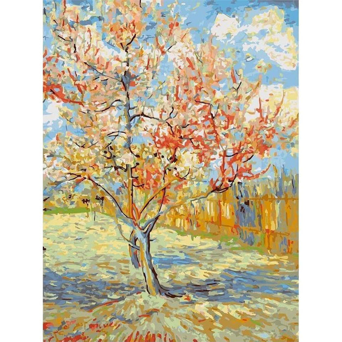 DIY Paint by Number kit for Adults on Canvas-Pink Peach Trees - Van Gogh-Clean PBN