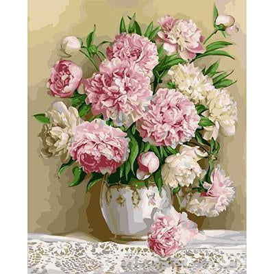 DIY Paint by Number kit for Adults on Canvas-Pink Peonies in Vase-40x50cm (16x20inches)
