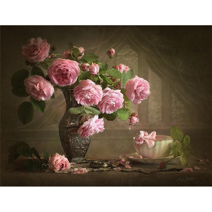 DIY Paint by Number kit for Adults on Canvas-Pink Roses Still Life-40x50cm (16x20inches)