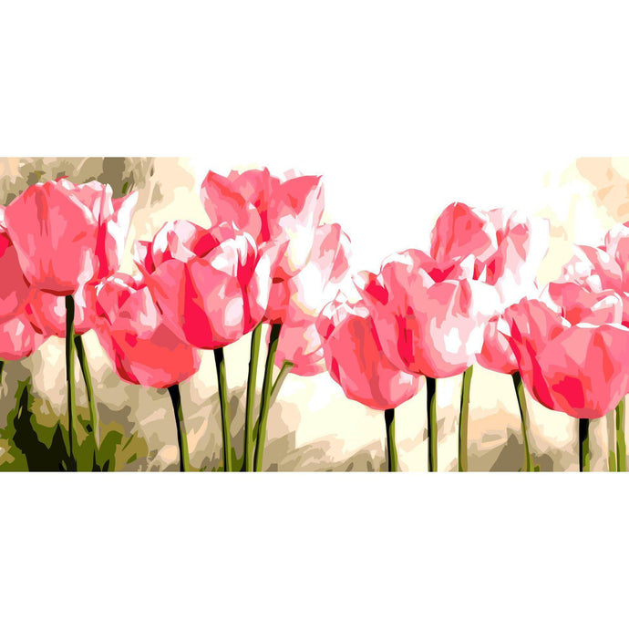 DIY Paint by Number kit for Adults on Canvas-Pink Tulips [EXTRA Large Print]-50x100cm (20x40inches)