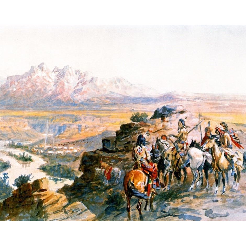 DIY Paint by Number kit for Adults on Canvas-Planning the Attack on the Wagon Train - Charles Marion Russell - 1900-Home