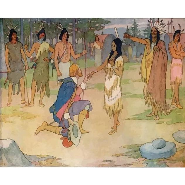 Pocahontas meets John Smith - Paint by Numbers Kit