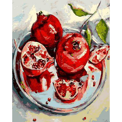 DIY Paint by Number kit for Adults on Canvas-Pomegranate Plate-40x50cm (16x20inches)