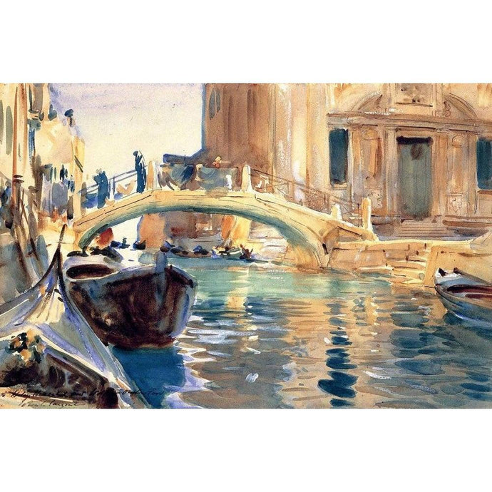 DIY Paint by Number kit for Adults on Canvas-Ponte San Giuseppe di Castello, Venice - John Singer Sargent - 1903-Clean PBN