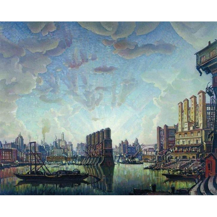 DIY Paint by Number kit for Adults on Canvas-Port of Imaginary City - Konstantin Bogaevsky - 1932-