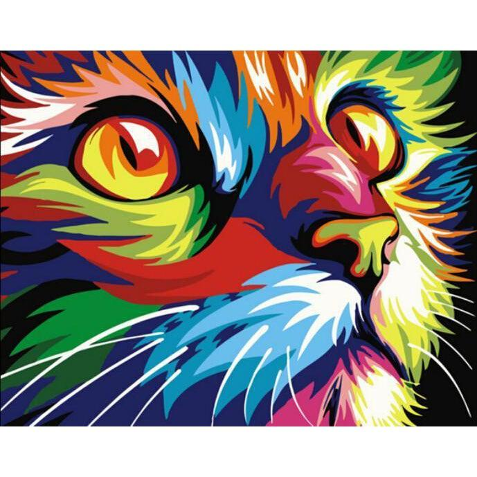 DIY Paint by Number kit for Adults on Canvas-Psychedelic Cat [LIMITED PRINT]-40x50cm (16x20inches)