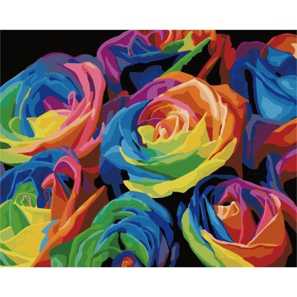 DIY Paint by Number kit for Adults on Canvas-Psychedelic Flowers-40x50cm (16x20inches)