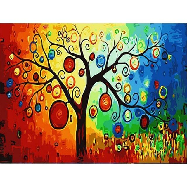DIY Paint by Number kit for Adults on Canvas-Psychedelic Tree-40x50cm (16x20inches)