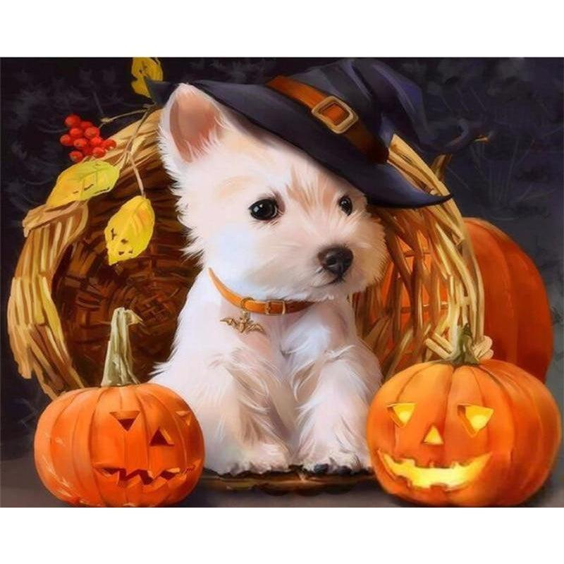 DIY Paint by Number kit for Adults on Canvas-Pumpkin Pup-40x50cm (16x20inches)