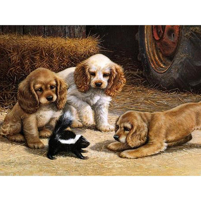 DIY Paint by Number kit for Adults on Canvas-Puppies Corner a Skunk-40x50cm (16x20inches)