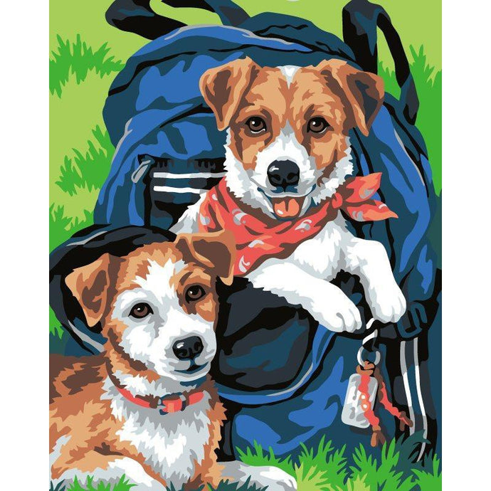 Puppies In Schoolbag - Paint by Numbers Kit