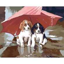 DIY Paint by Number kit for Adults on Canvas-Puppies Share an Umbrella-40x50cm (16x20inches)