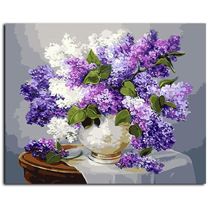 DIY Paint by Number kit for Adults on Canvas-Purple and White Lilac Still Life-40x50cm (16x20inches)