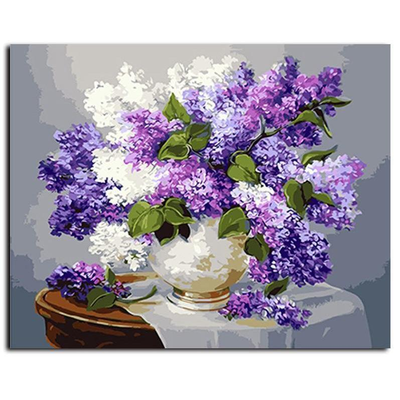 Purple and White Lilac Still Life - Paint by Numbers Kit