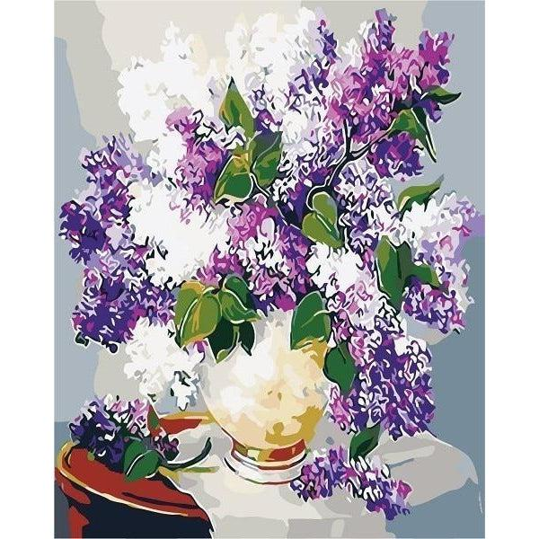DIY Paint by Number kit for Adults on Canvas-Purple and White Lilacs-Paint By Number