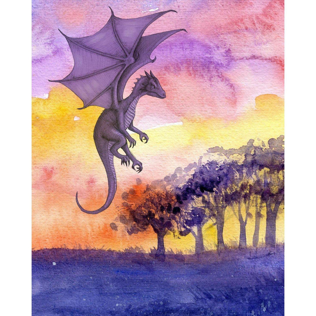 DIY Paint by Number kit for Adults on Canvas-Purple Dragon-Paint By Number