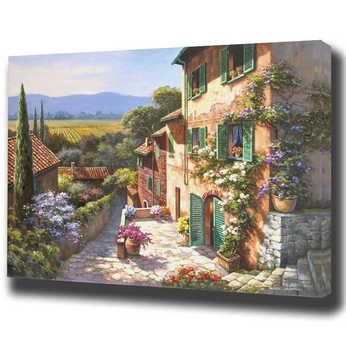 DIY Paint by Number kit for Adults on Canvas-Quiet Cobblestone Corner-40x50cm (16x20inches)