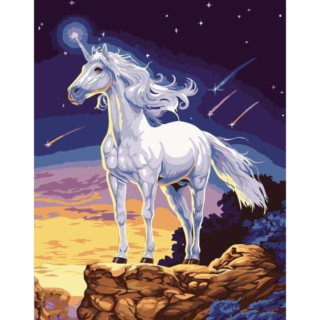 DIY Paint by Number kit for Adults on Canvas-Radiant Unicorn-40x50cm (16x20inches)
