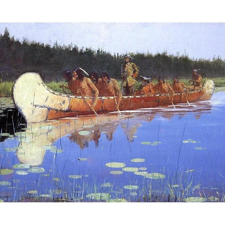 DIY Paint by Number kit for Adults on Canvas-Radisson and Groseilliers - Frederic Sackrider Remington - 1905-Home