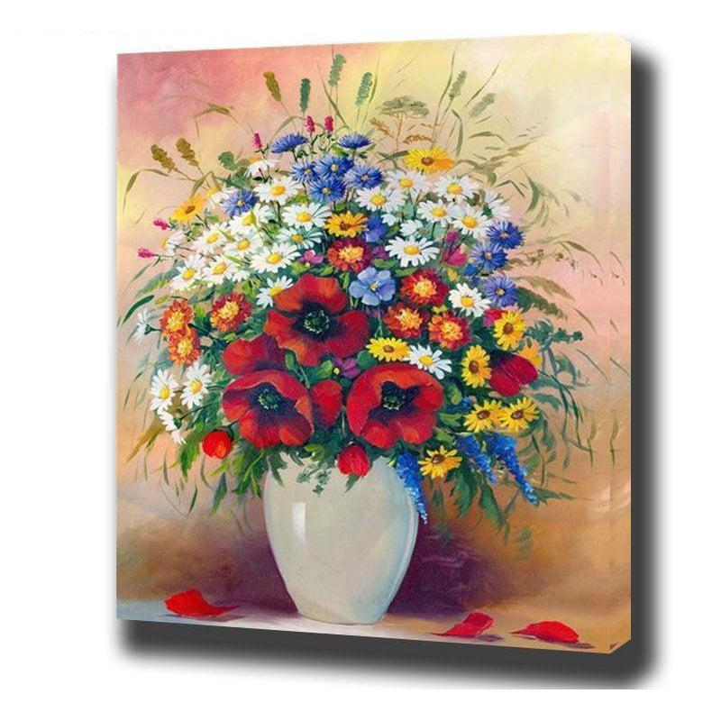 DIY Paint by Number kit for Adults on Canvas-Rainbow Bouquet-40x50cm (16x20inches)