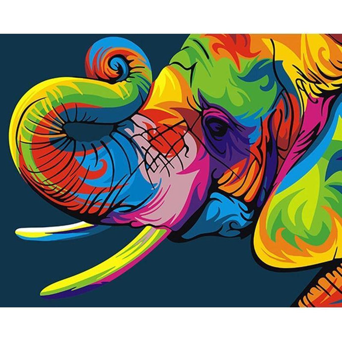 DIY Paint by Number kit for Adults on Canvas-Rainbow Elephant-40x50cm (16x20inches)