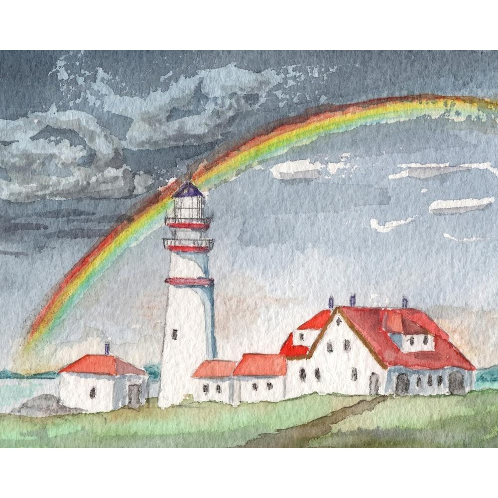 DIY Paint by Number kit for Adults on Canvas-Rainbow Lighthouse-Home