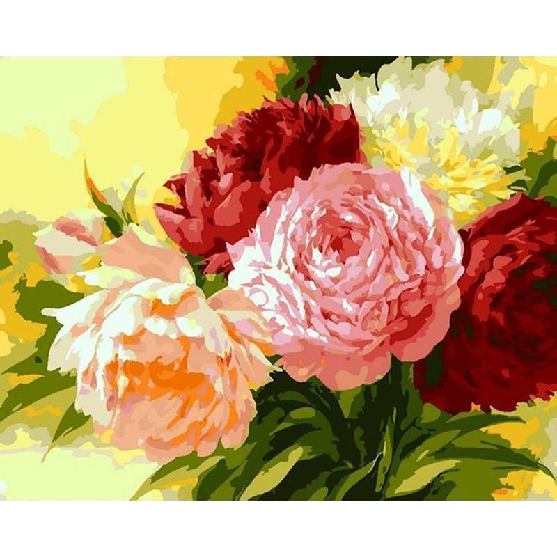 DIY Paint by Number kit for Adults on Canvas-Rainbow Roses-
