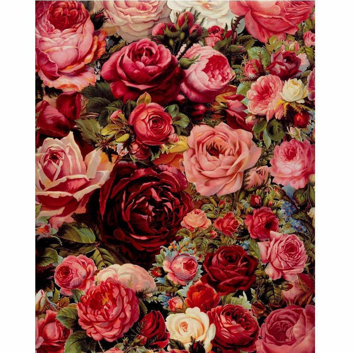 DIY Paint by Number kit for Adults on Canvas-Red and Pink Floral Arrangement-40x50cm (16x20inches)