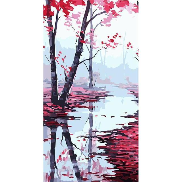 DIY Paint by Number kit for Adults on Canvas-Red Flower River [EXTRA Large Print]-40x80cm (16x32inches)