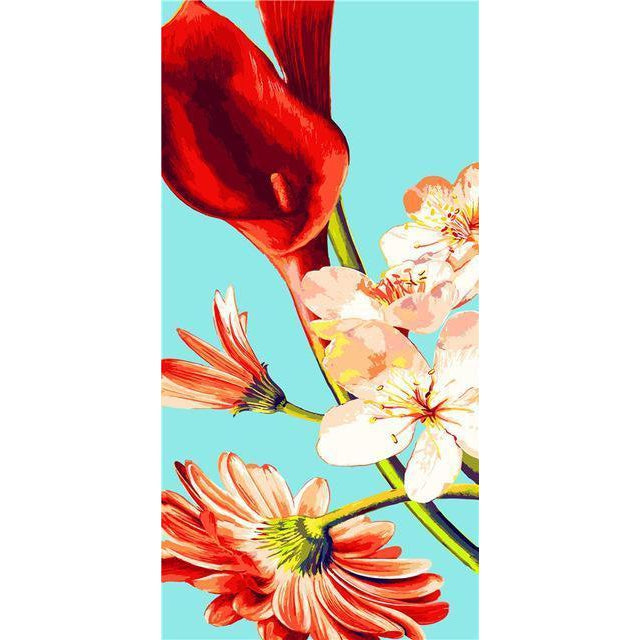 DIY Paint by Number kit for Adults on Canvas-Red Flowers [EXTRA Large Print]-40x80cm (16x32inches)