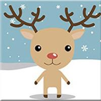 DIY Paint by Number kit for Adults on Canvas-Reindeer Buddy - [Tiny Print]-20x20cm (8x8inches)