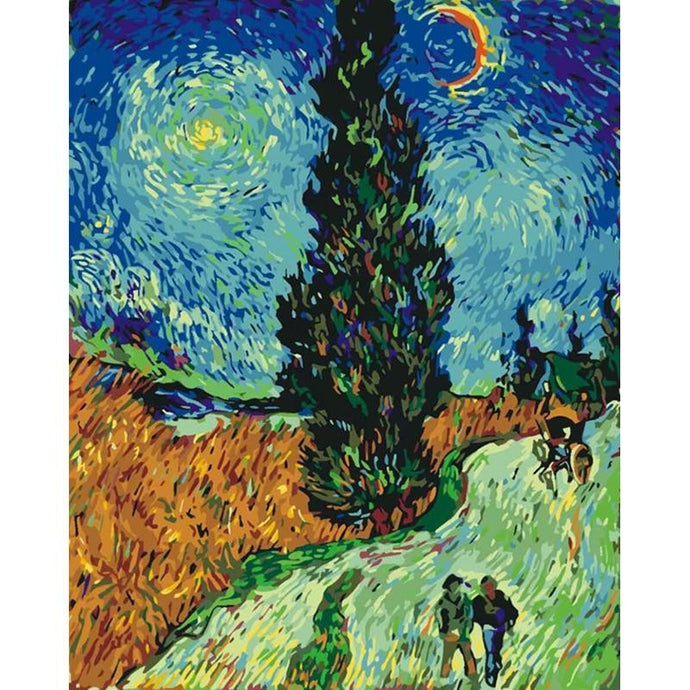 DIY Paint by Number kit for Adults on Canvas-Road with Cypresses - Van Gogh-Clean PBN